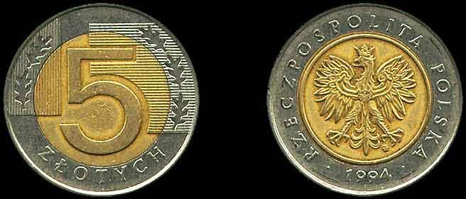 5 zlotych 1994 года s доллар